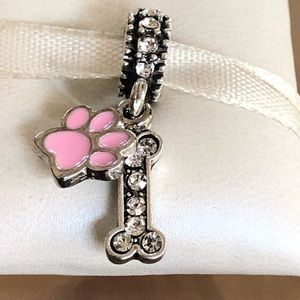 Dog paw charm with bone silver& pink Dangles